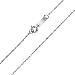 10K White Gold 0.8mm Singapore Chain with Spring Ring Clasp - 16 Inch