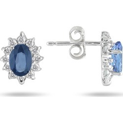 Sapphire and Diamond Flower Earrings in 10K White Gold found on Bargain Bro Philippines from szul.com for $249.00