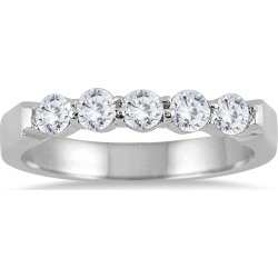 1 Carat TW Five Stone Diamond Wedding Band in 10K White Gold found on Bargain Bro from szul.com for USD $455.24