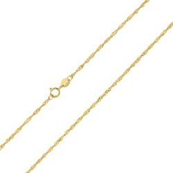 10K Yellow Gold 1.5mm Singapore Chain with Spring Ring Clasp - 16 Inch