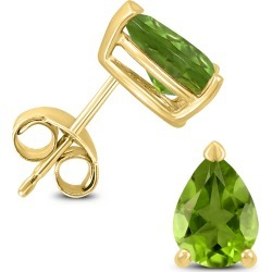 14K Yellow Gold 6x4MM Pear Peridot Earrings found on Bargain Bro Philippines from szul.com for $119.00