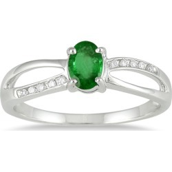 Emerald and Diamond Ring Set in 10K White Gold