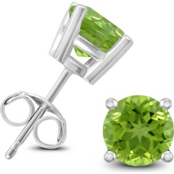14K White Gold 6MM Round Peridot Earrings found on Bargain Bro Philippines from szul.com for $179.00
