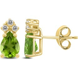 14K Yellow Gold 8x6MM Pear Peridot and Diamond Earrings found on Bargain Bro Philippines from szul.com for $249.00