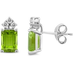 14K White Gold 6x4MM Emerald Shaped Peridot and Diamond Earrings found on Bargain Bro Philippines from szul.com for $209.00