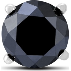 1 1/2 Carat Round Single Solitaire Black Diamond Stud Earring in 10K White Gold found on Bargain Bro Philippines from szul.com for $249.00