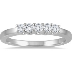 1/4 Carat TW Five Stone Diamond Wedding Band in 14K White Gold found on Bargain Bro from szul.com for USD $227.24