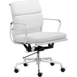 Eames Premium Leather Replica Soft Pad Management Office Chair Colour: White found on Bargain Bro Philippines from templeandwebster.com.au for $197.91