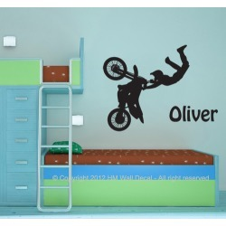 Personalised Name with Dirt Bike Wall Sticker set Colour: Black