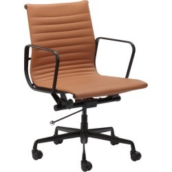 Deluxe Leather Eames Replica Management Office Chair Colour: Tan found on Bargain Bro India from templeandwebster.com.au for $252.70