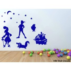 Inspired Peter Pan Kids DIY Removable Wall Art Decal Colour: Dark Blue