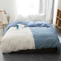 Blue Stripe Origami Vintage Wash Cotton Quilt Cover Set Size: Queen