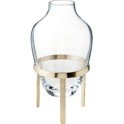 Medium Clear Adorn Glass Vase with Stand Stand Finish: Matte Brass