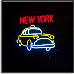 New York Neon Canvas Wall Art Frame / Size: Black Floating Frame / 77.5 x 77.5 x 4.5cm found on Bargain Bro India from templeandwebster.com.au for $291.46