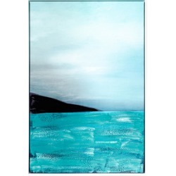 Abstract Shore Line Painting Framed Canvas Wall Art