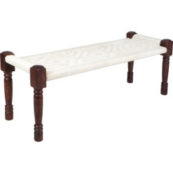 Atlas Mango Wood & Cotton Bench