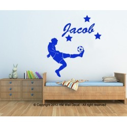 Personalised Name with Football Player Wall Sticker Colour: White