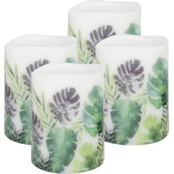 Set of 4 Botanical Mimosa LED Wax Pillars with Timer Size: Small