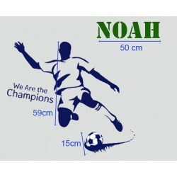 Personalised Name with Soccer Player and Soccer Wall Sticker Set Name Colour: Green