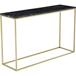 Black Siena Marble Console Table Frame Finish: Brass