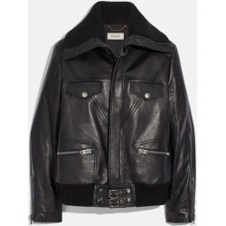 Leather Jacket With Knit Collar in Black - Size 10 found on MODAPINS from coach stores limited for USD $623.10