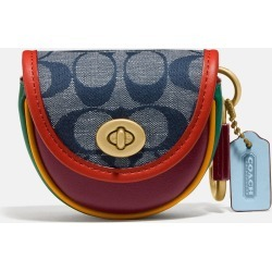COACH Saddle Bag Charm In Signature Chambray - Women's