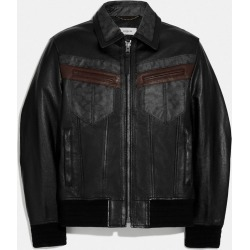 Signature Leather Jacket in Black - Size 46 found on Bargain Bro UK from coach stores limited