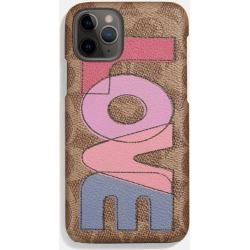 Iphone 11 Pro Case In Signature Canvas With Love Print in Beige - Size ONE found on Bargain Bro UK from coach stores limited