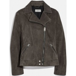 Suede Moto Jacket in Grey - Size 04 found on Bargain Bro UK from coach stores limited