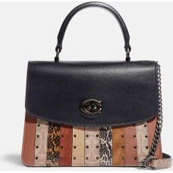Coach Parker Top Handle With Signature Canvas Patchwork Stripes And Snakeskin Detail found on Bargain Bro UK from coach stores limited