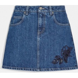 Embroidered Denim Skirt in Blue - Size 06 found on Bargain Bro UK from coach stores limited