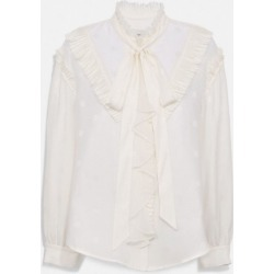 Square Signature Jacquard Long Sleeve Prairie Top With Ruffles in Beige - Size 0 found on Bargain Bro UK from coach stores limited