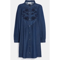 Embroidered Denim Dress in Blue - Size 02 found on Bargain Bro UK from coach stores limited