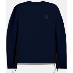 Ribbed Knit Sweater in Blue - Size L found on Bargain Bro UK from coach stores limited