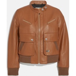 Leather Bomber Jacket in Beige - Size 06 found on MODAPINS from coach stores limited for USD $1315.83