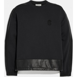 Leather Trim Sweatshirt in Black - Size L found on Bargain Bro UK from coach stores limited
