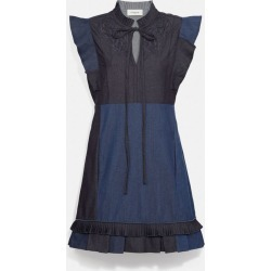 Denim Patchwork Dress With Broderie Anglaise in Blue - Size 02 found on Bargain Bro UK from coach stores limited