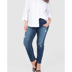Love Your Wardrobe - Distressed Full Length Stretch Jeans - Tapered (Dark Indigo) Distressed Full Length Stretch Jeans