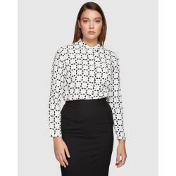 Oxford - Poppy Circle Life Printed Blouse - Tops (Ivory/Black) Poppy Circle Life Printed Blouse