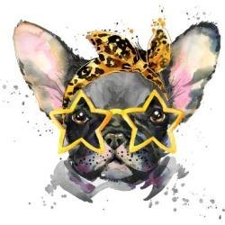 Art Print: Alena's French Bulldog. Cute Puppy Dog. Watercolor Puppy Do