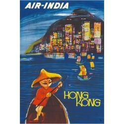 Giclee Painting: Cowasji's Hong Kong Maharaja - Air India, 32x24in.