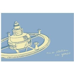 Giclee Painting: Golden's Lunastrella Space Station, 18x25in.