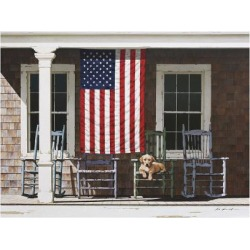 Giclee Painting: Lu's American Flag, 22x28in.