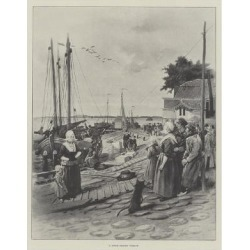 Giclee Painting: A Dutch Fishing Village, 24x18in.