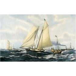 Giclee Painting: Brierly's Yacht America, 24x16in.