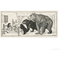 Giclee Painting: Ford's Goldilocks is Found in Baby Bear's Bed by the