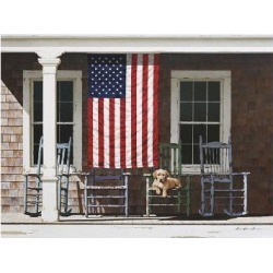 Giclee Painting: Lu's American Flag, 13x16in.