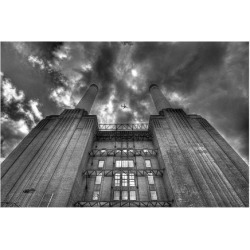 Giclee Painting: Plane Battersea Power Station, 12x16in.
