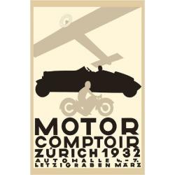Giclee Painting: Baumberger's Motor Comptoir Zurich - Letzigraben Auto