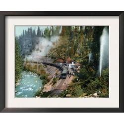 Framed Art Print: Lantern Press' Aerial View of a Train Station, 15x18
